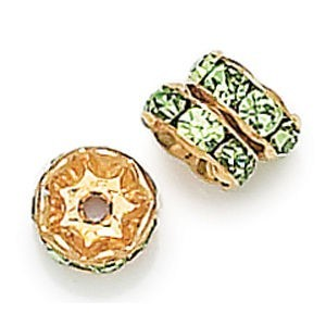 6mm Peridot on Gold Rhinestone Rondelles