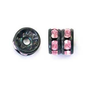 8mm Rose on Black Rhinestone Rondelles