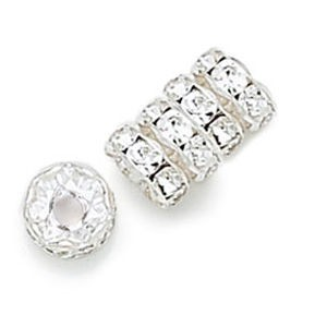 8mm Crystal on Silver Rhinestone Rondelles with 2.5mm Hole