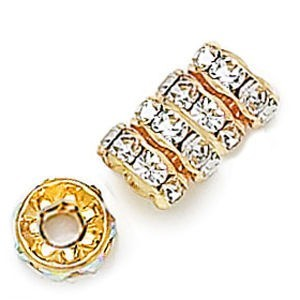 10mm Crystal on Gold Rhinestone Rondelles with 3.5mm Hole