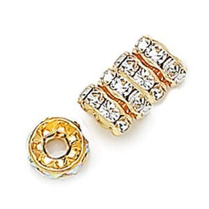 8mm Crystal on Gold Rhinestone Rondelles with 3.5mm Hole