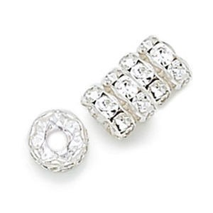 8mm Crystal on Silver Czech Rhinestone Rondelles with 3.5mm Hole