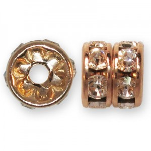 6mm Preciosa® Maxima Crystal on Rosegold Plate Rs Rondelles - 36pcs