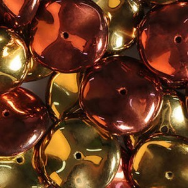Ripple Czech Glass Beads 12mm California Gold Rush - 36 Beads Per Strand