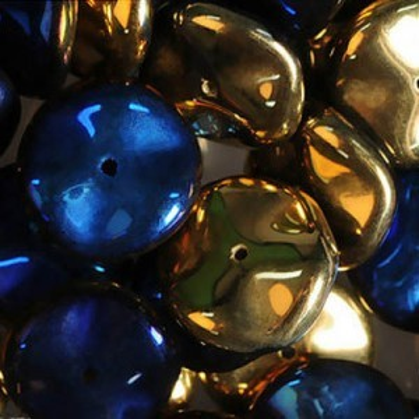 Ripple Czech Glass Beads 12mm California Blue - 36 Beads Per Strand