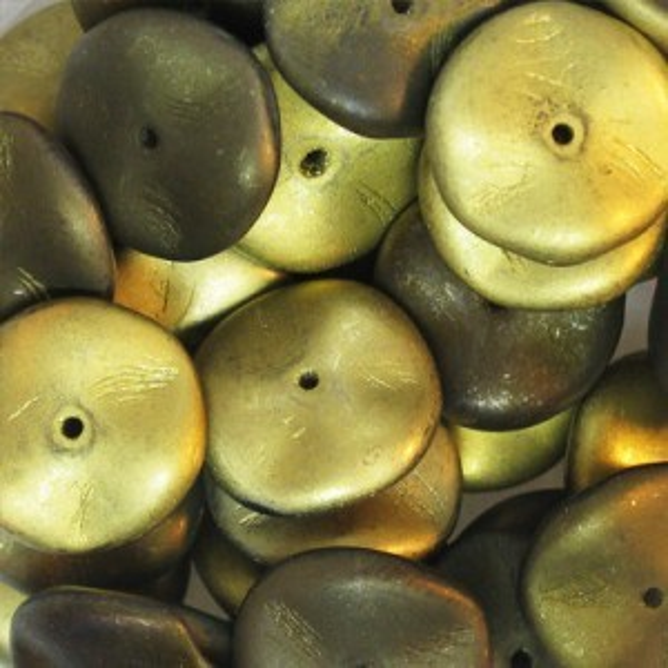 Ripple Czech Glass Beads 12mm California Night Matte - 36 Beads Per Strand