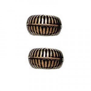 6x3mm Ribbed Rice Bead Antique Copper
