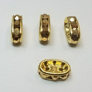 2-Hole Oval Rhinestone Rondelle 7x4mm Aurum On Gold