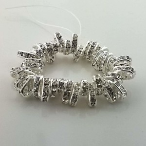 2-Hole Oval Czech Rhinestone Rondelle 7x4mm Crystal On Silver