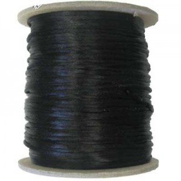 3mm USA Rattail Satin Cord Black Heavy Weight #2 - 144 Yards Per Spool