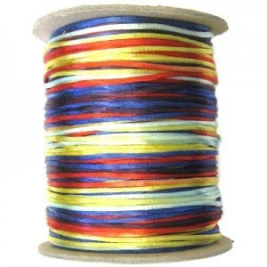 3mm USA Rattail Satin Cord Bright Colors Multi Heavy Weight #2 - 144 Yards Per Spool