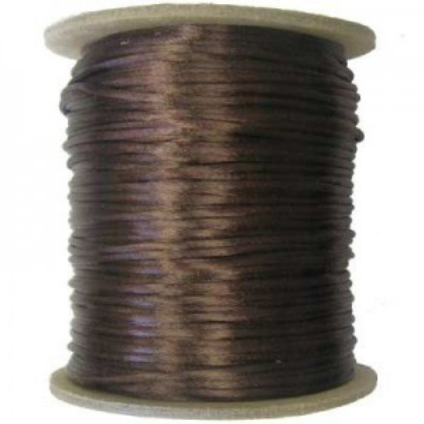2mm USA Rattail Satin Cord Medium Brown Light Weight #1 - 144 Yards Per Spool