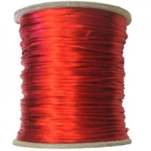 3mm USA Rattail Satin Cord Red Heavy Weight #2 - 144 Yards Per Spool
