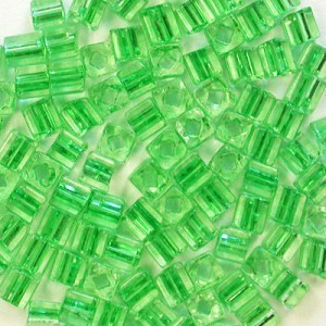 3.4x3.4mm Sol-Gel Peridot Loose Czech Square Seed Beads (Apx 13400 Pcs Per Kg)