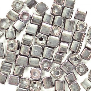 3.4x3.4mm Shiny Silver Loose Czech Square Seed Beads (Apx 13400 Pcs Per Kg)