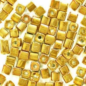 3.4x3.4mm Shiny Gold Loose Czech Square Seed Beads (Apx 13400 Pcs Per Kg)