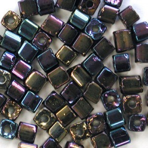 2.6x2.6mm Jet AB Loose Czech Square Seed Beads