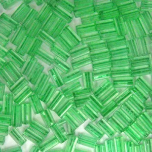 7x3.4mm Sol-Gel Peridot Loose Square Tubes Seed Beads