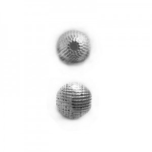 8mm Round Sand Bead Bright Silver
