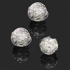 17mm Handmade Wired Round Bead Forever Silver™ 1pc
