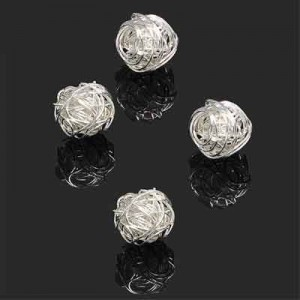 13mm Handmade Wired Round Bead Forever Silver™ 1pc