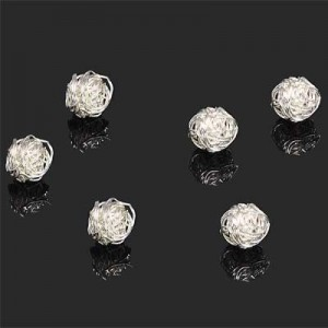 7mm Handmade Wired Round Bead Forever Silver™ 2pcs
