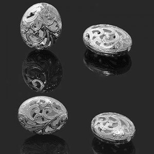 20x16mm Filigree Oval Bead Forever Silver™ 1pc