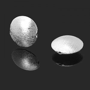 18mm Brushed Coin Bead Forever Silver™ 1pc