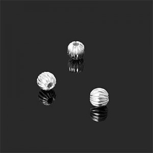 5mm Corrugated Round Bead Forever Silver™ 20pcs