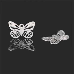 15x10mm Filigree Butterfly Charm Forever Silver™ 10pcs