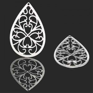 40x25mm Filigree Teardrop Pendant Forever Silver™ 1pc