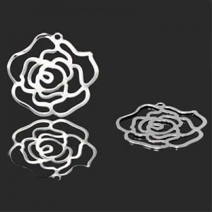 25mm Rose Charm Forever Silver™ 5pcs