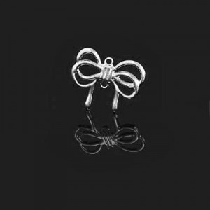 15mm Lace Bowtie 2-Hole Charm Forever Silver™ 10pcs