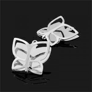 18x19mm Folded Butterfly Charm Forever Silver™ 2pcs