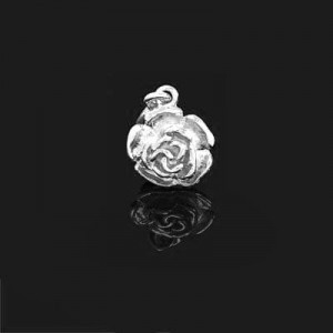 26x15mm Rose Charm Forever Silver™ 1pc