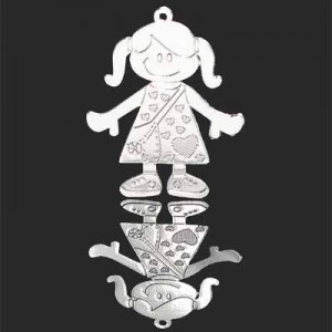 30x24mm Girl Charm Forever Silver™ 2pcs