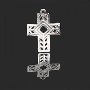 20x15mm Cross W Diamond Shaped Center Forever Silver™ 5pcs