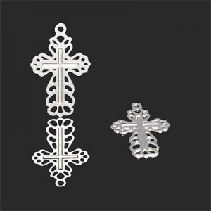 22x14mm Cross with Engrailed Design Forever Silver™ 5pcs