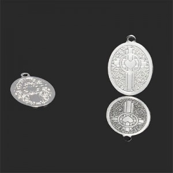 18x13mm Celtic Cross W Heart in Oval Pendant Forever Silver™ 5pcs
