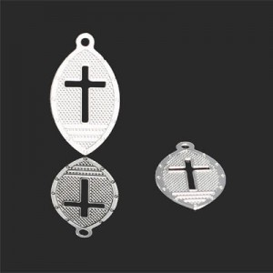 19x11mm Oval W Cut Out Cross Forever Silver™ 5pcs