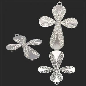 29x22mm Cross W Rounded Arms Forever Silver™ 2pcs