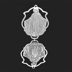 33x25mm Our Lady of Miraculous Medal Shield Pendant Forever Silver™ 2pcs