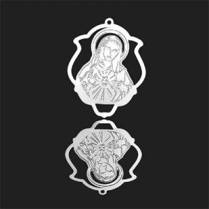 33x25mm Immaculate Heart of Mary Shield Pendant Forever Silver™ 2pcs