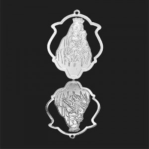 33x25mm Mother and Child Shield Pendant Forever Silver™ 2pcs