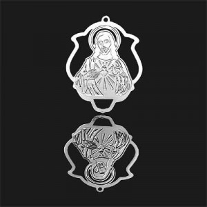 33x25mm Sacred Heart of Jesus Shield Pendant Forever Silver™ 2pcs