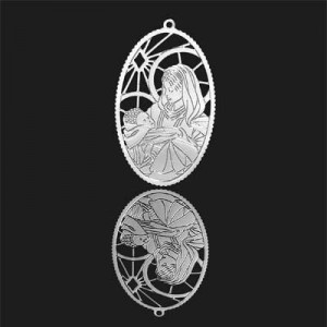 41x33mm Mother and Child Oval Pendant Forever Silver™ 1pcs