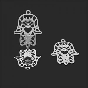 22x16mm Hamsa Charm W/ Eye & Heart Forever Silver™ 2pcs