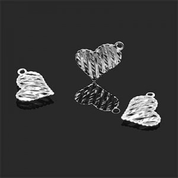 13x15mm Puffy Asymmetrical Heart Pendant Forever Silver™ 2pcs