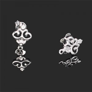 12x9mm Victorian Style Earring Base Forever Silver™ 4pcs(2pairs)