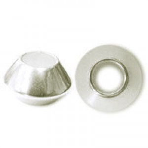 10x17mm Plastic Large Hole Saucer Rondelle Plated Bright Silver